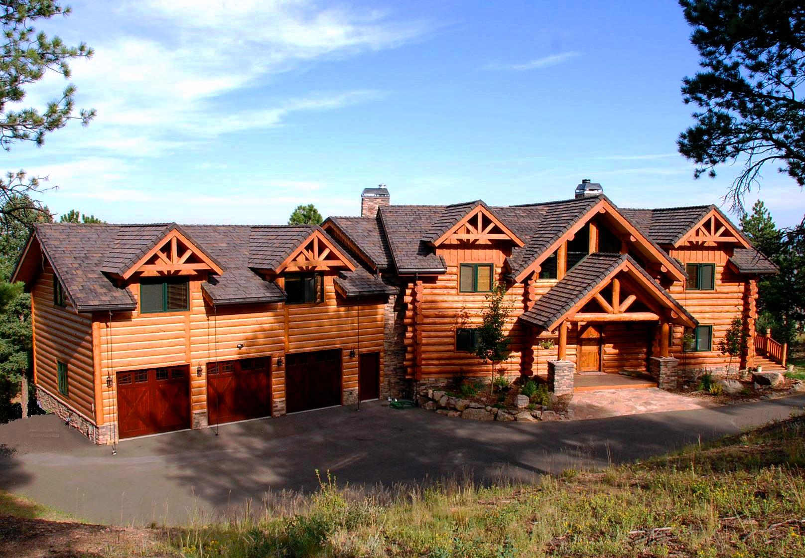 Exterior pictures custom handcrafted milled log homes Country log home